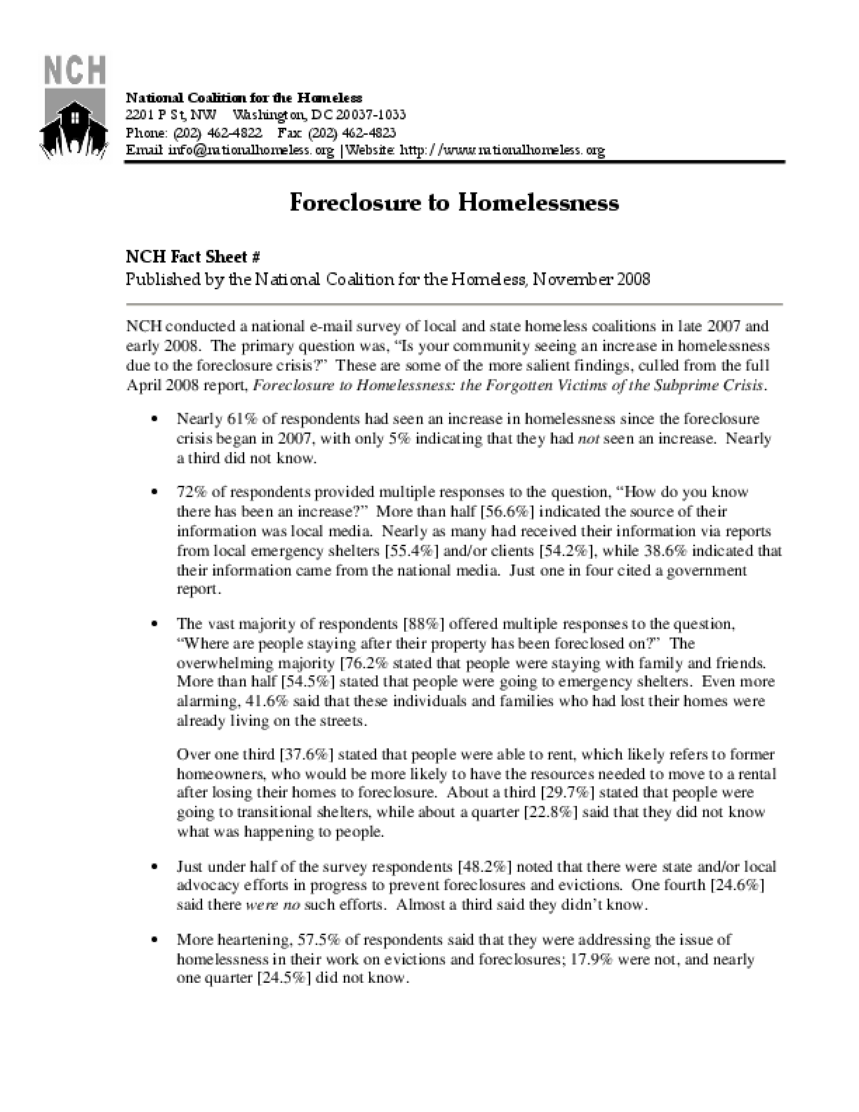Foreclosure to Homelessness Factsheet