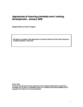 Approaches to Financing Charitable Work: Tracking Developments: January 2006