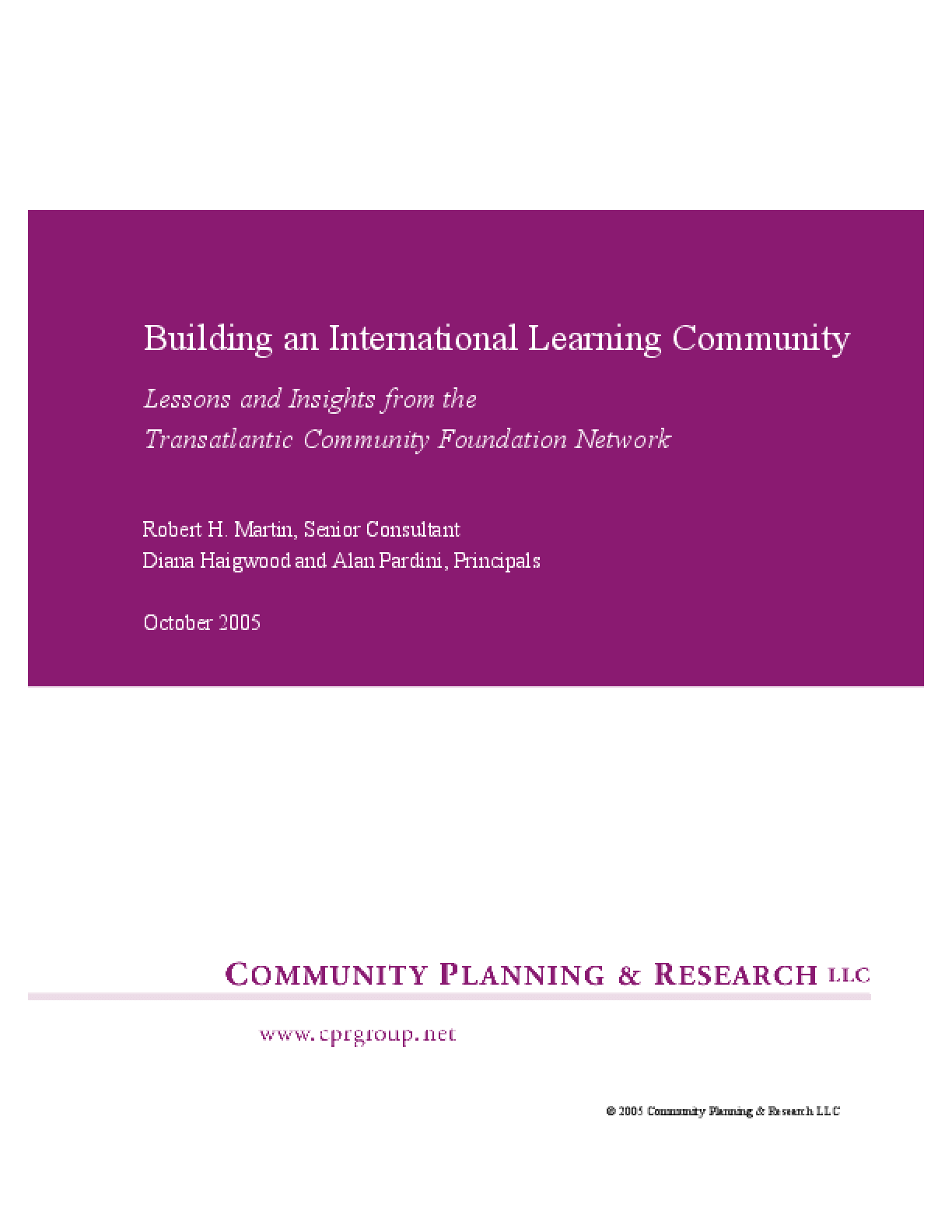 Building an International Learning Community: Lessons and Insights From theTransatlantic Community Foundation Network