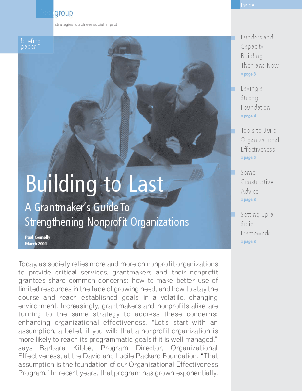 Building to Last: A Grantmaker's Guide to Strengthening Nonprofit Organizations