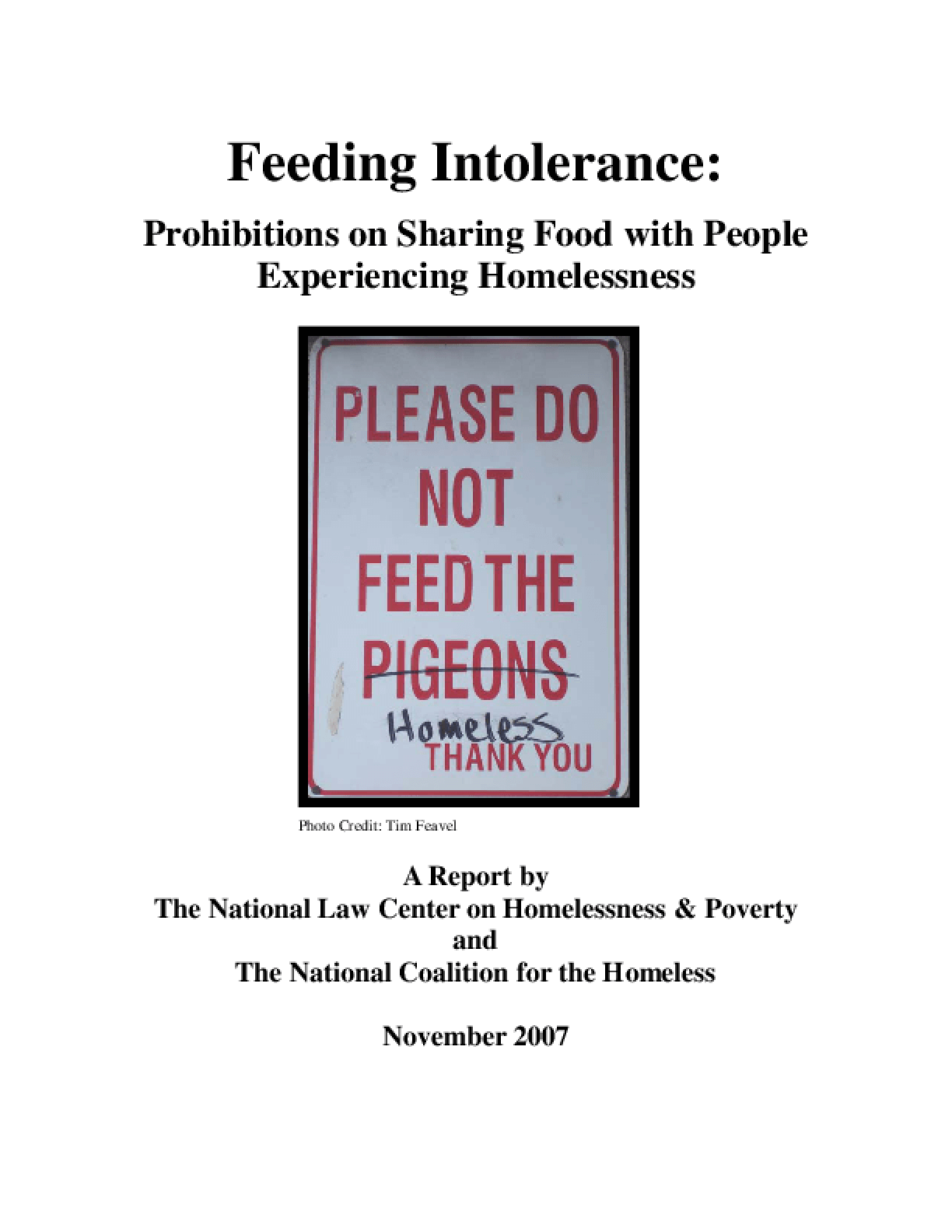 Feeding Intolerance: Prohibitions on Sharing Food with People Experiencing Homelessness