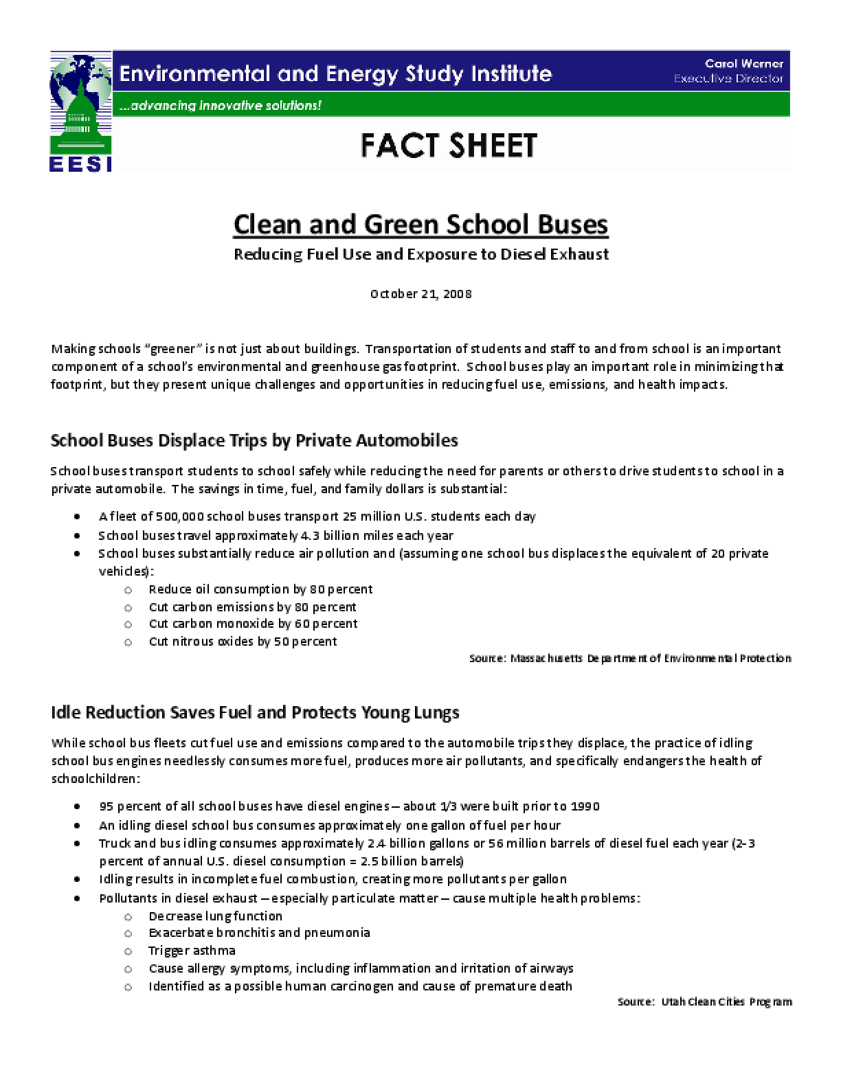 Clean and Green School Buses - Reducing Fuel Use and Exposure to Diesel Exhaust