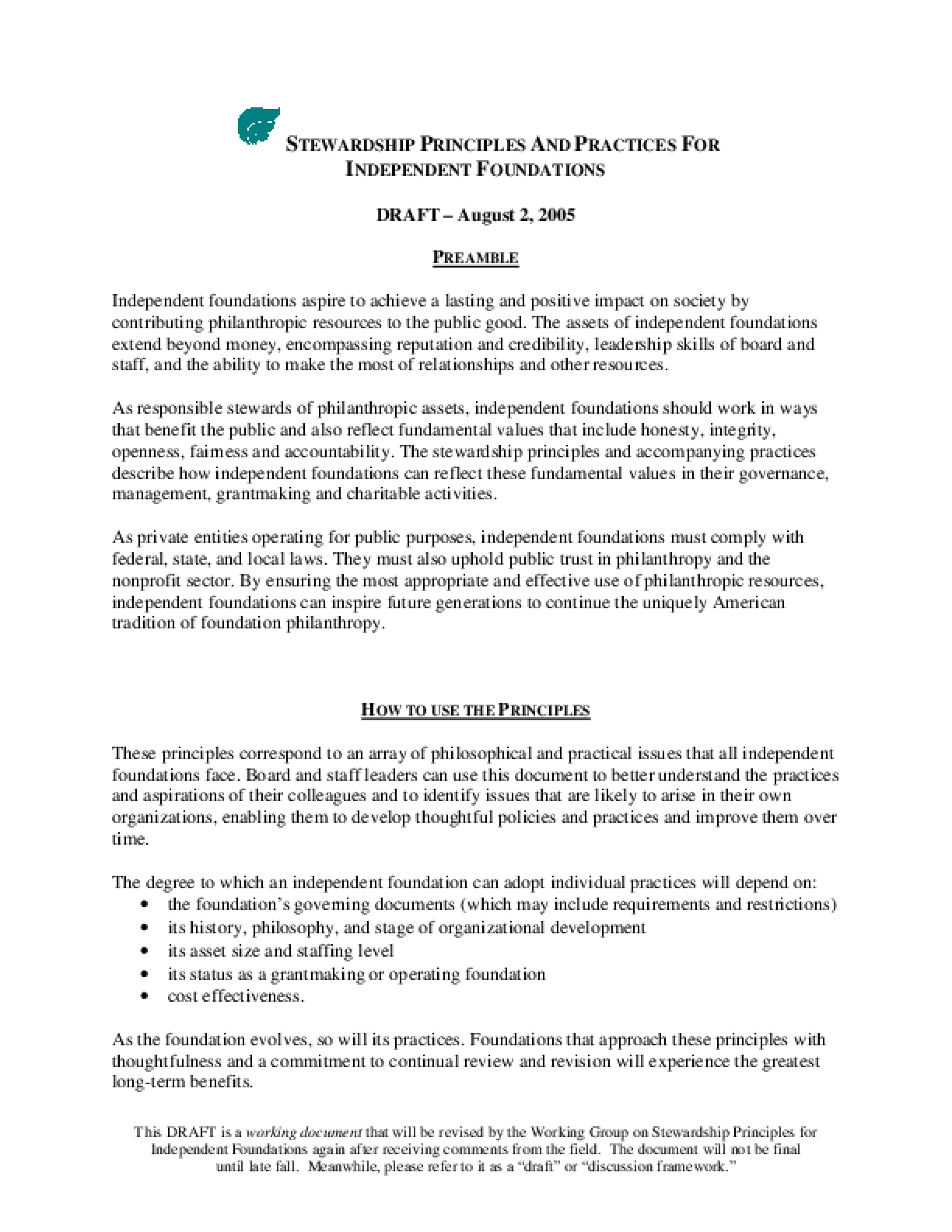 Council On Foundations. Stewardship Principles For Independent Foundations: Draft: August 2, 2005