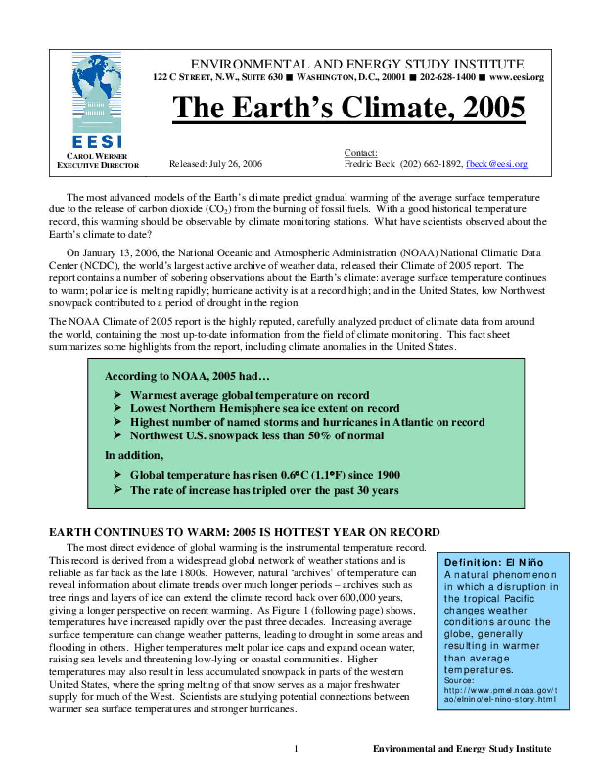 The Earth's Climate, 2005