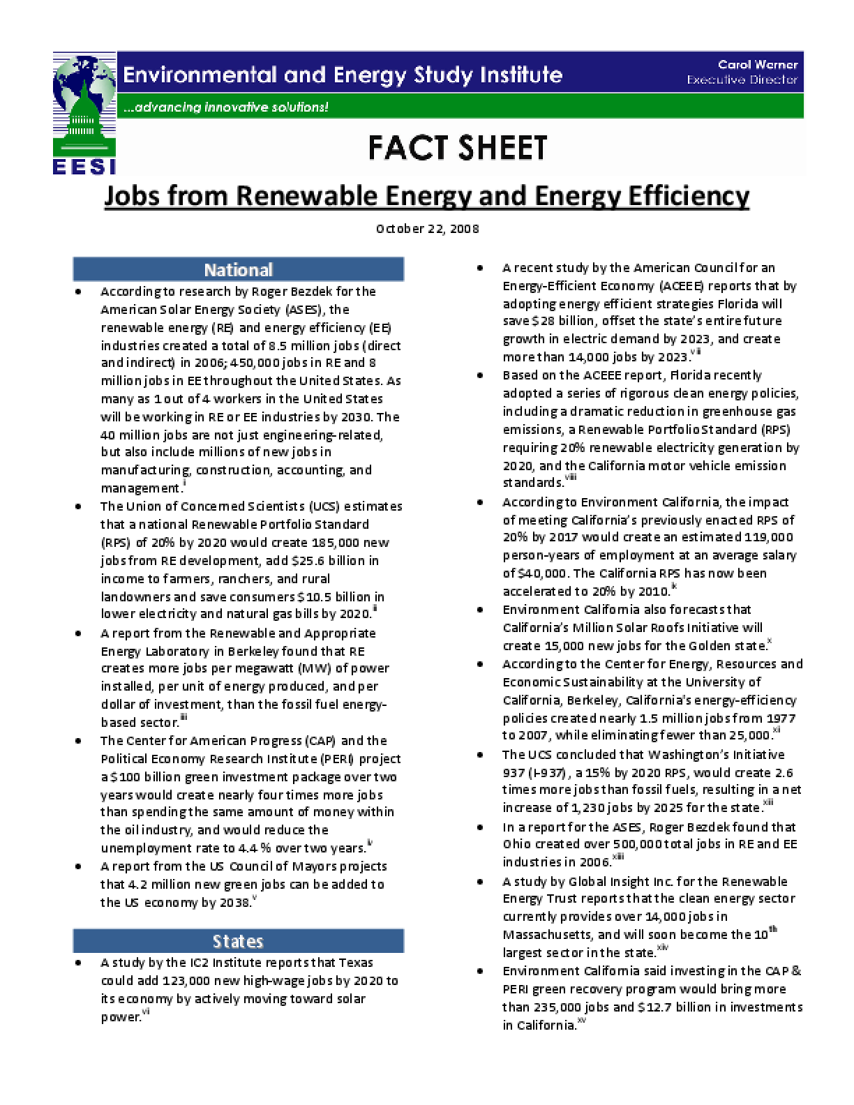 Jobs from Renewable Energy and Energy Efficiency