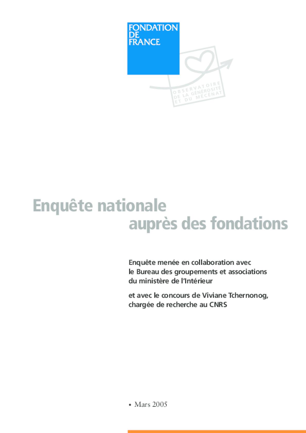 Enquête Nationale Auprès Des Fondations