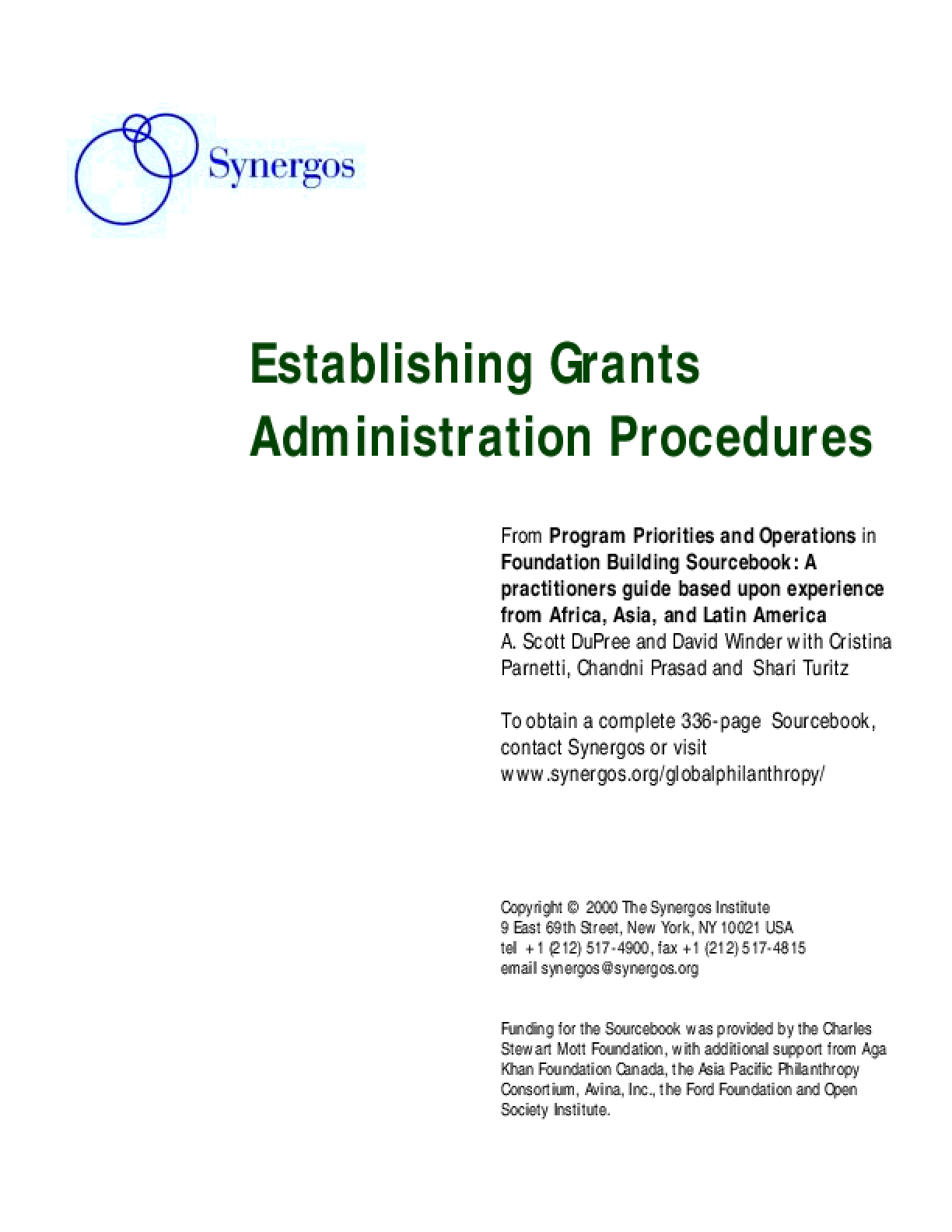 Establishing Grants Administration Procedures