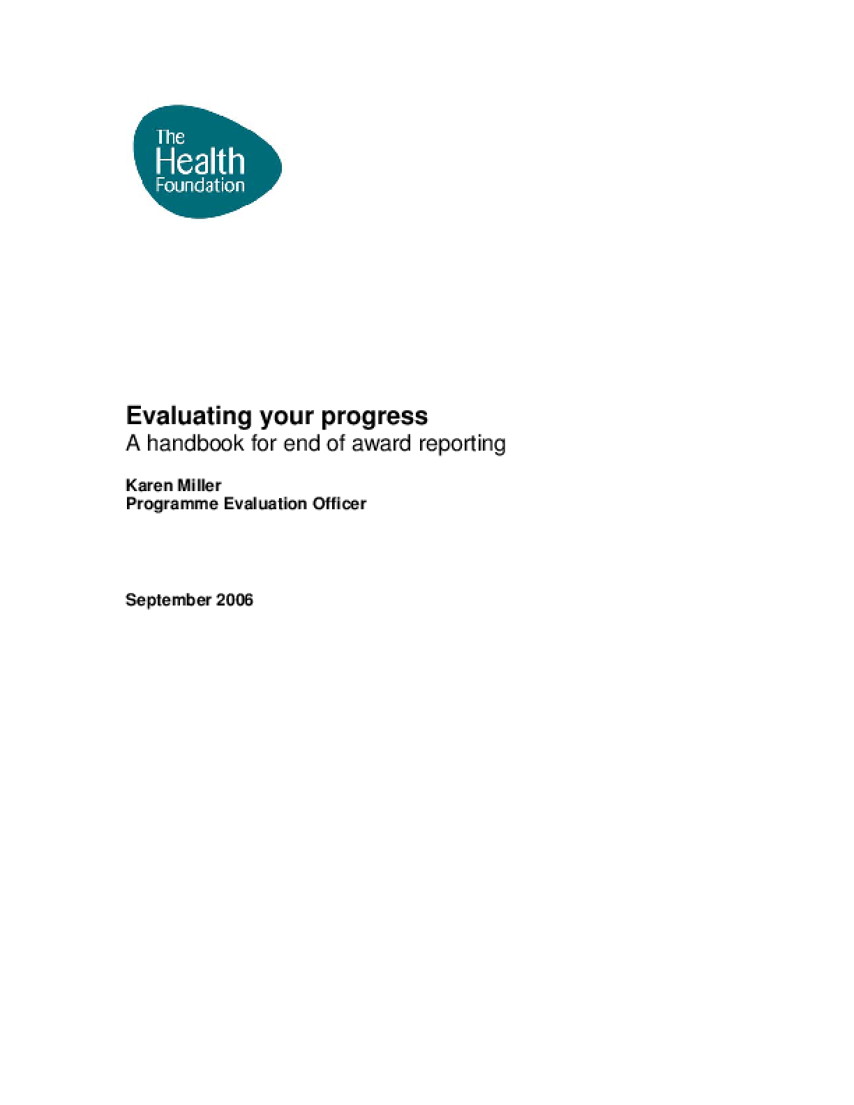 Evaluating Your Progress: A Handbook for End of Award Reporting