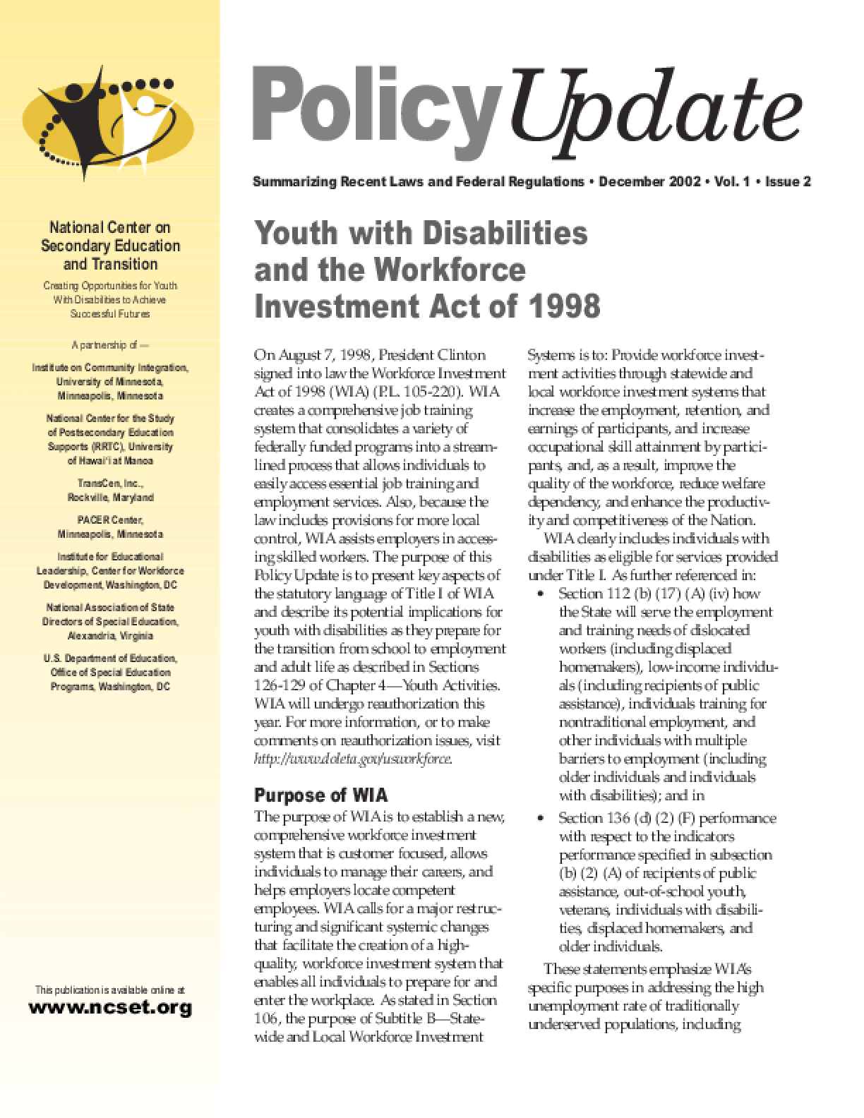 Youth with Disabilities and the Workforce Investment Act of 1998