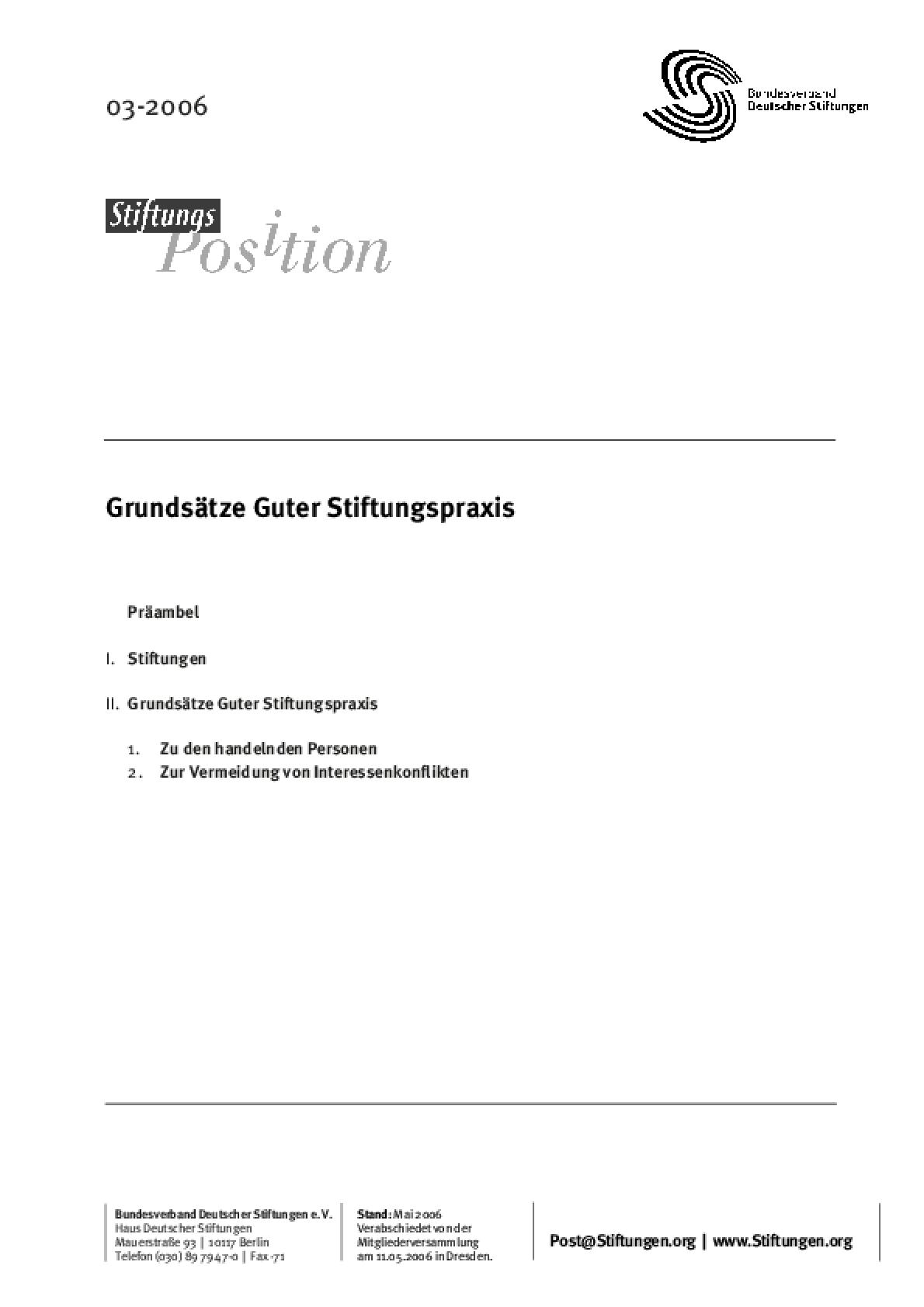 GrundsäGuter Stiftungspraxis