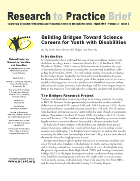Building Bridges Toward Science Careers for Youth with Disabilities