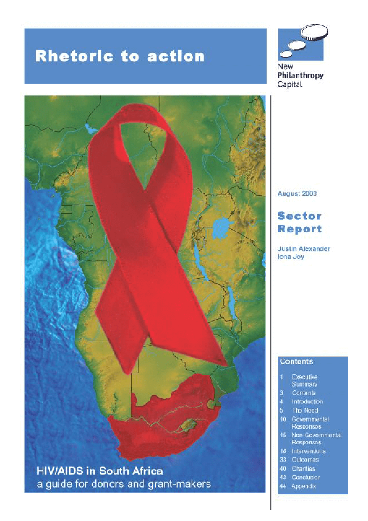 HIV/AIDS in South Africa: A Guide For Donors and Grant-makers