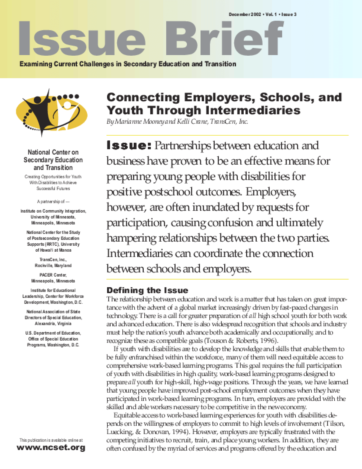 Connecting Employers, Schools, and Youth Through Intermediaries
