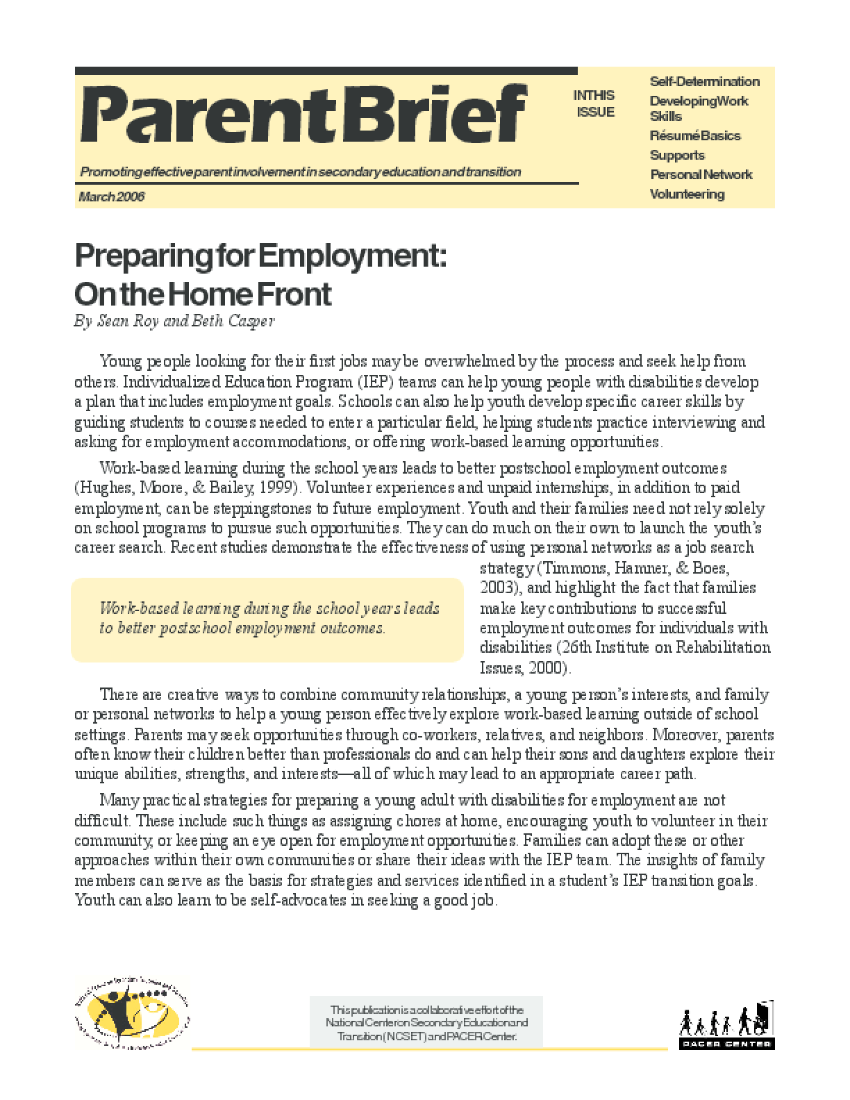 Preparing for Employment: On the Home Front