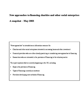 New Approaches to Financing Charities and Other Social Enterprises: A Snapshot: May 2003