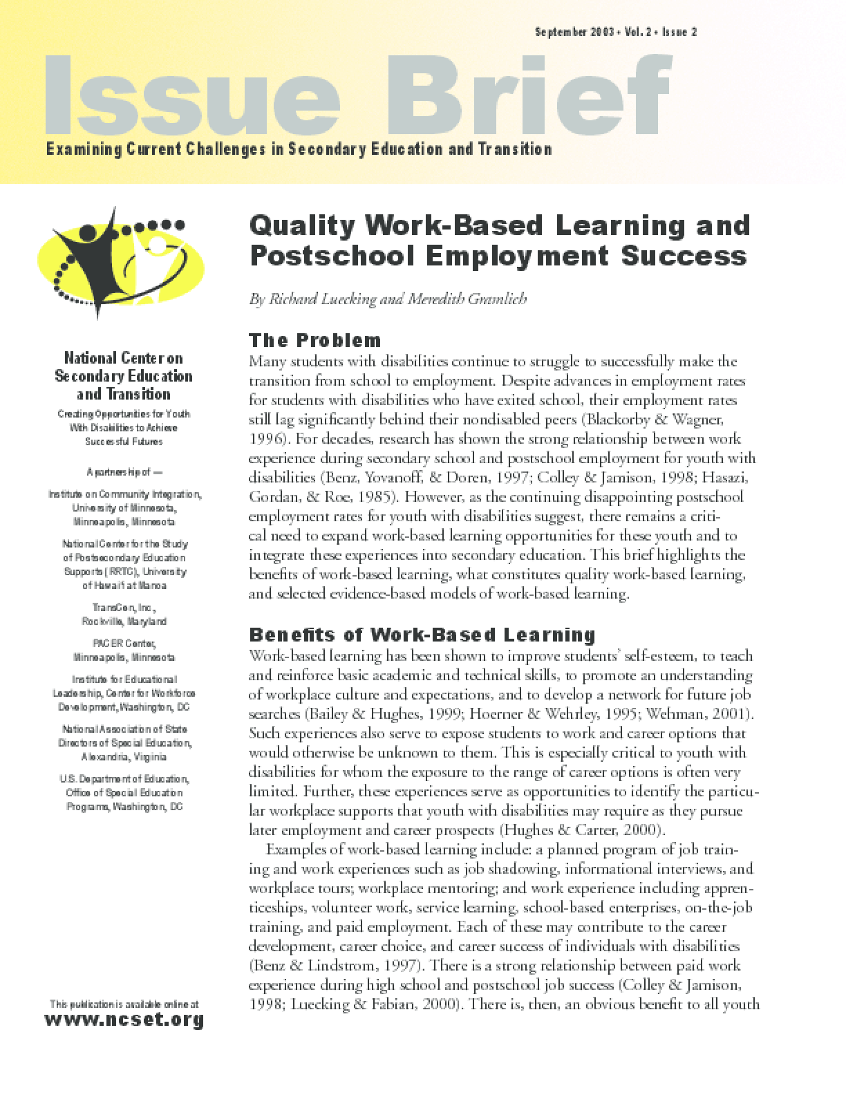 Quality Work-Based Learning and Postschool Employment Success