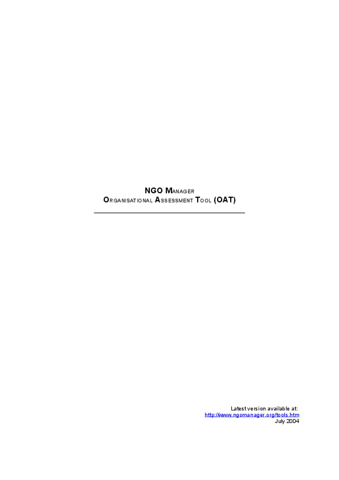 NGO Manager Organisational Assessment Tool (OAT)