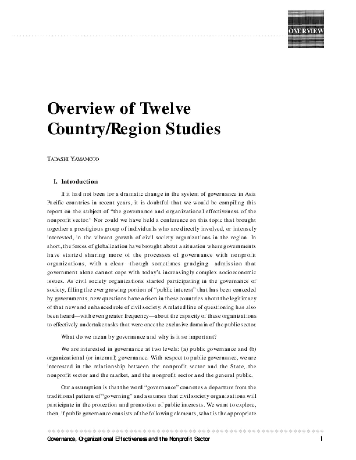 Overview of Twelve Country/region Studies
