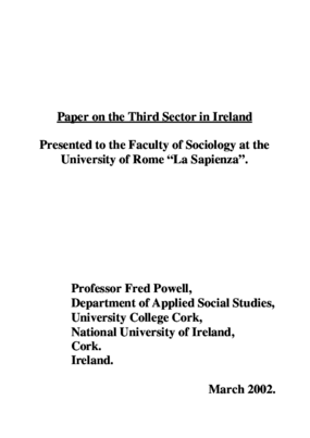 Paper On the Third Sector in Ireland