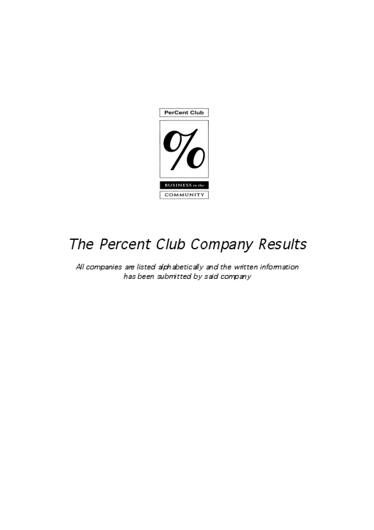 The Percent Club Company Results