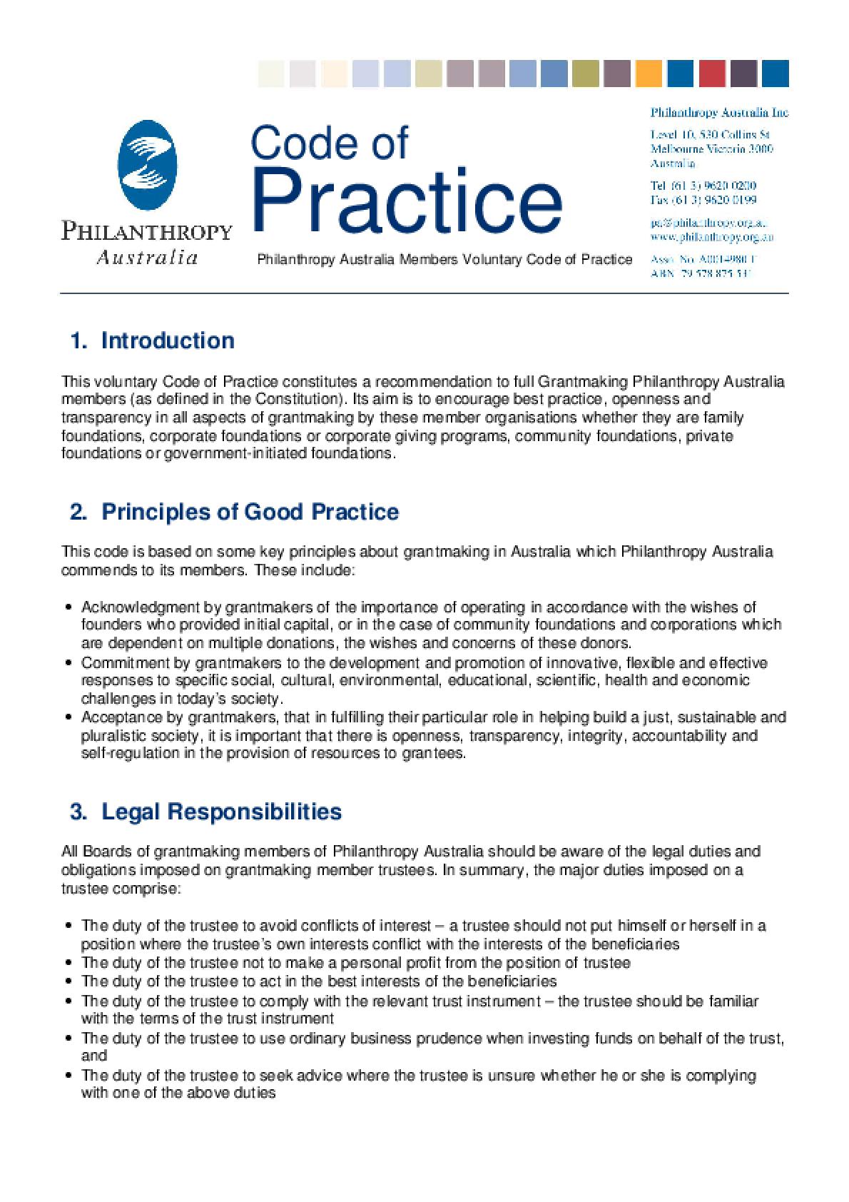 Philanthropy Australia. Code of Practice