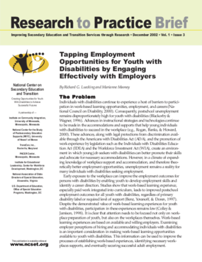 Tapping Employment Opportunities for Youth with Disabilities by Engaging Effectively with Employers