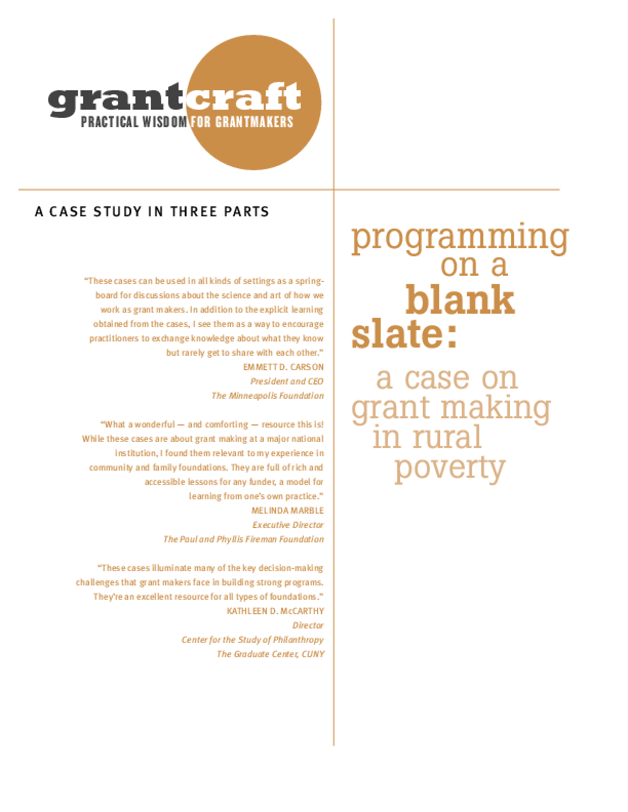 Programming On a Blank Slate: A Case On Grantmaking in Rural Poverty