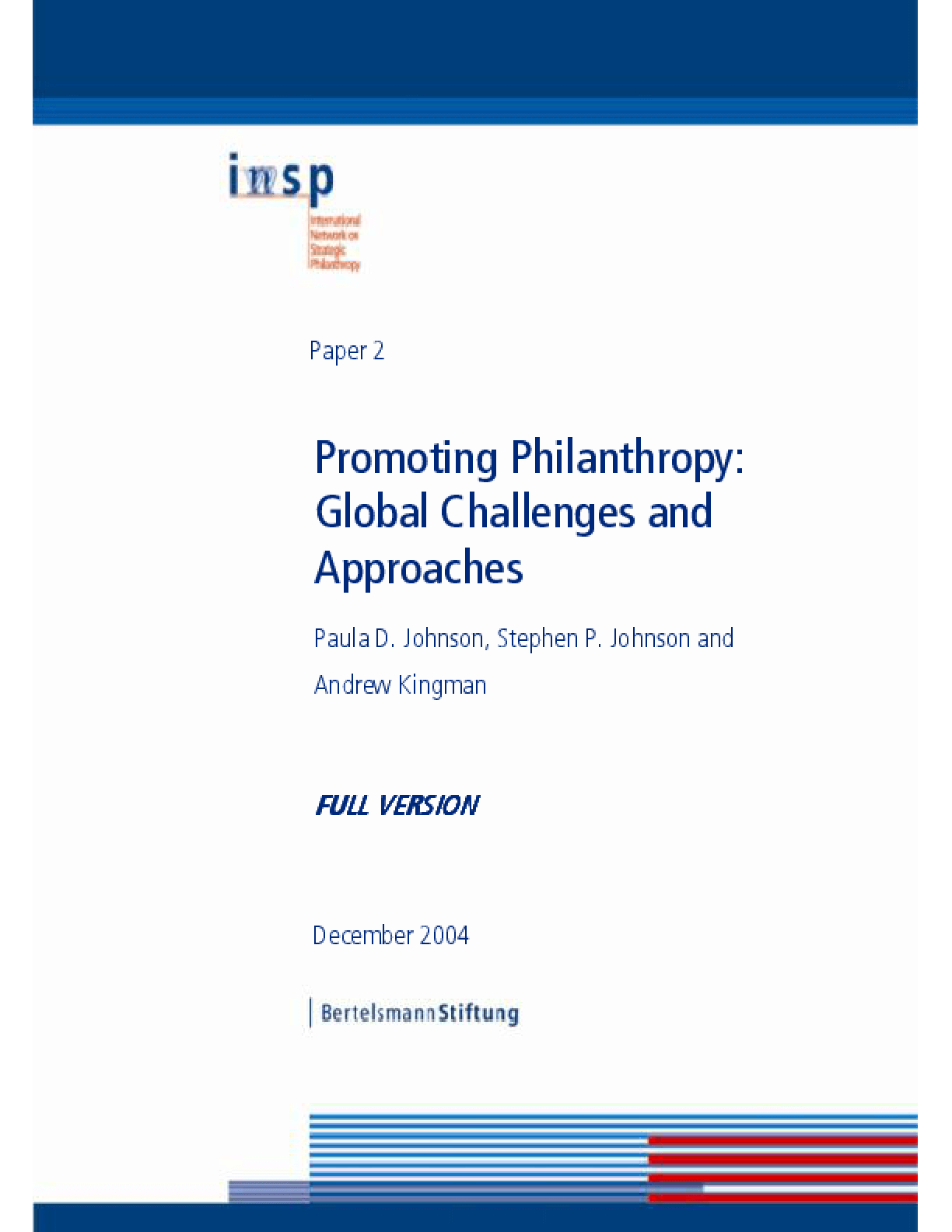 Promoting Philanthropy: Global Challenges and Approaches