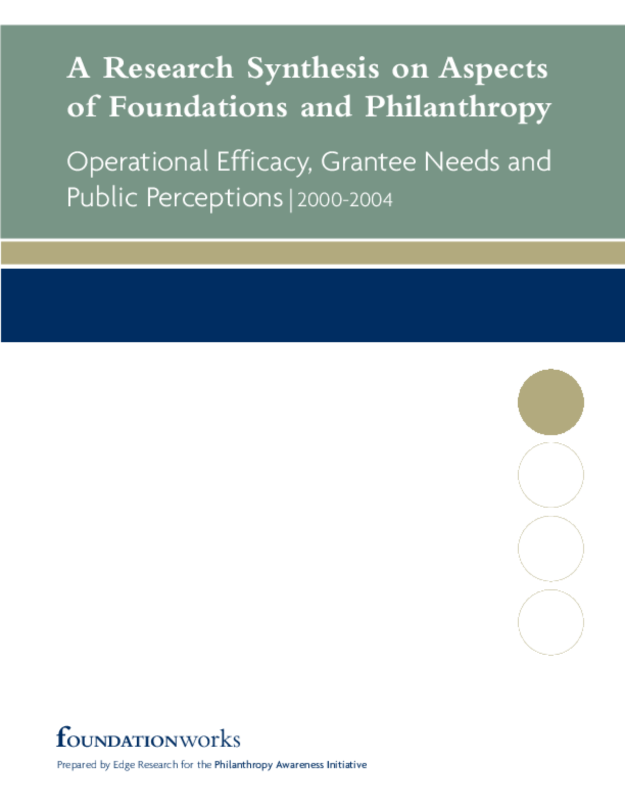 A Research Synthesis On Aspects of Foundations and Philanthropy: Operational Efficacy, Grantee Needs and Public Perceptions 2000-2004