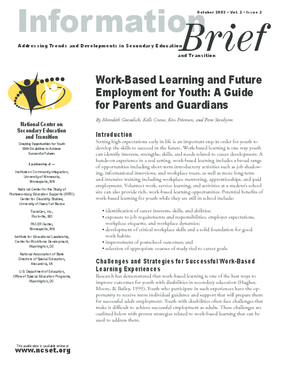 Work-Based Learning and Future Employment for Youth: A Guide for Parents and Guardians