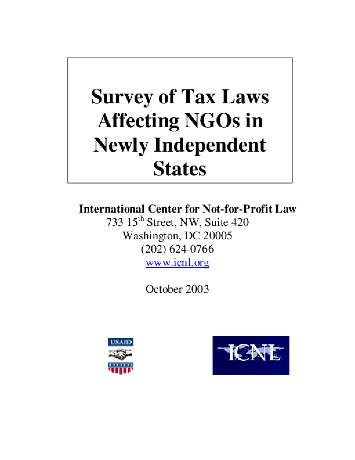 Survey of Tax Laws Affecting NGOs in Newly Independent States