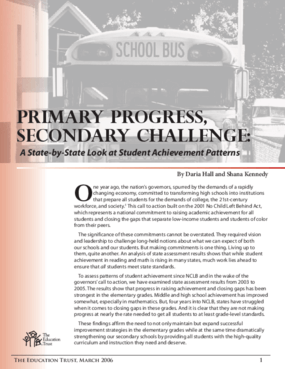 Primary Progress, Secondary Challenge: A State-by-State Look at Student Achievement Patterns