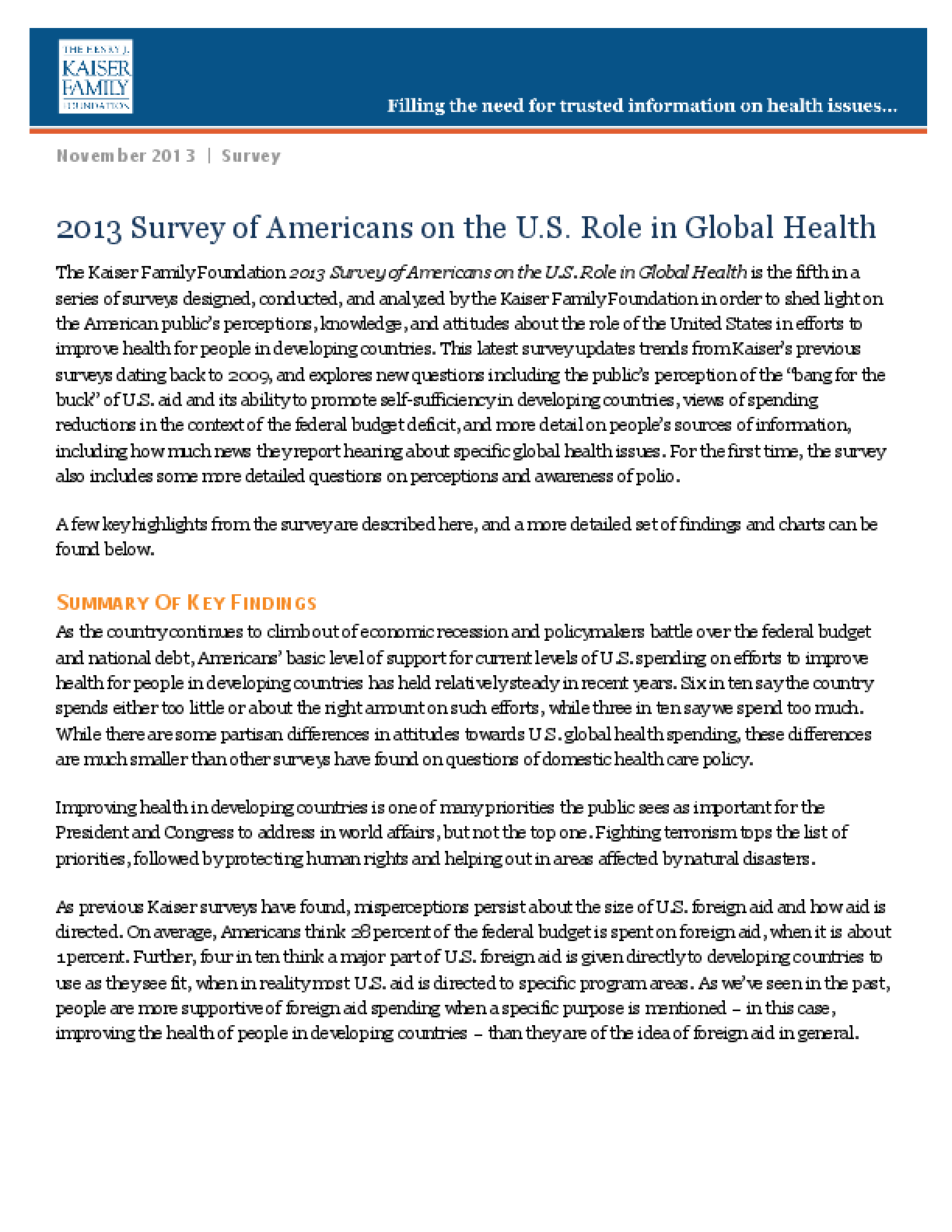 2013 Survey of Americans on the U.S. Role in Global Health