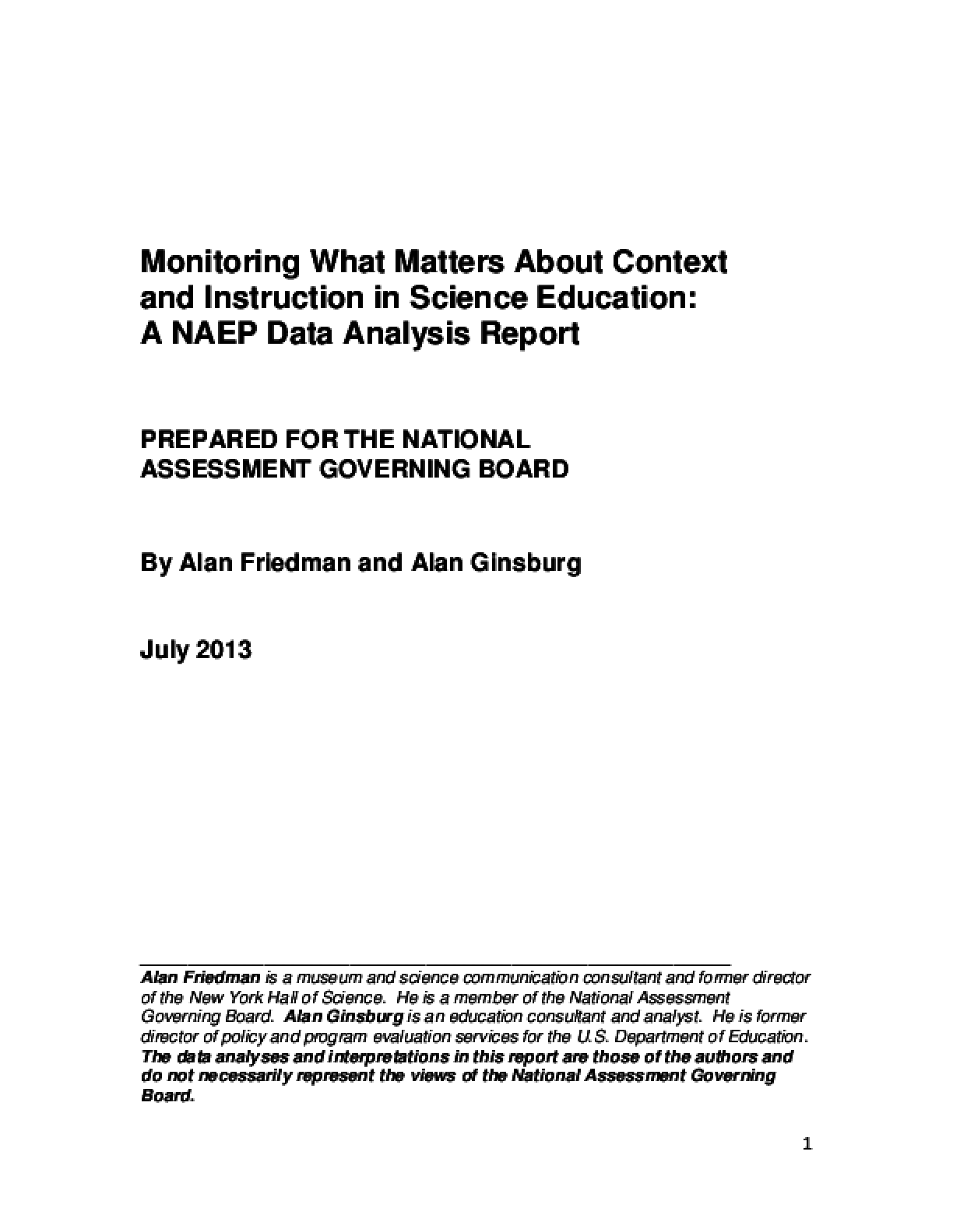 Monitoring What Matters About Context and Instruction in Science Education: A NAEP Data Analysis Report