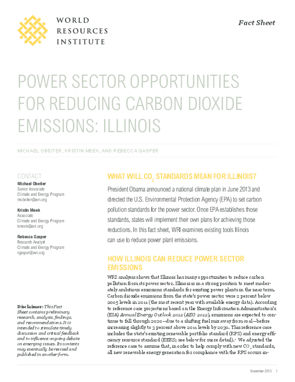 Power Sector Opportunities for Reducing Carbon Dioxide Emissions: Illinois