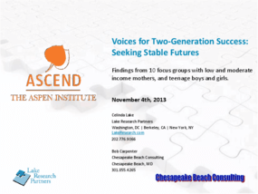 Voices for Two-Generation Success: Seeking Stable Futures
