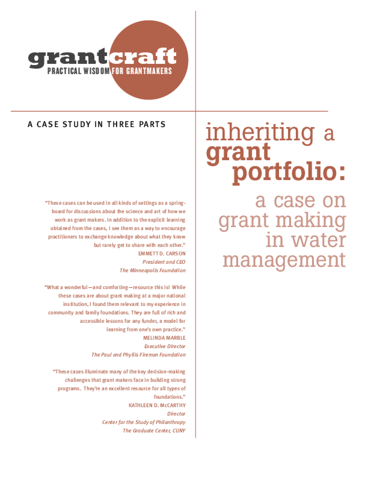 Inheriting a Grant Portfolio: A Case on Grantmaking in Water Management