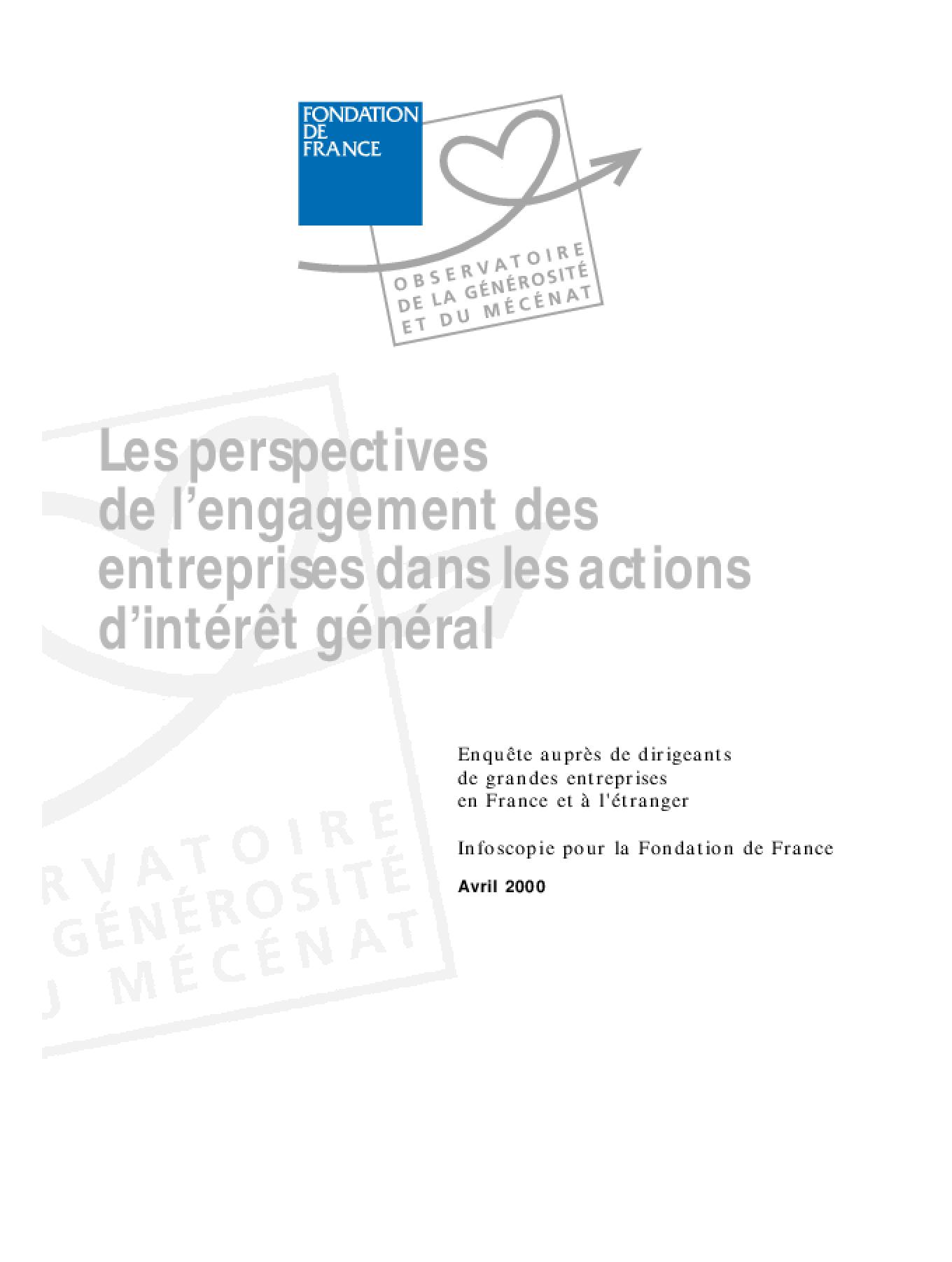 Les Perspectives de l'Engagement des Entreprises dans les Actions d'Intérêt Général