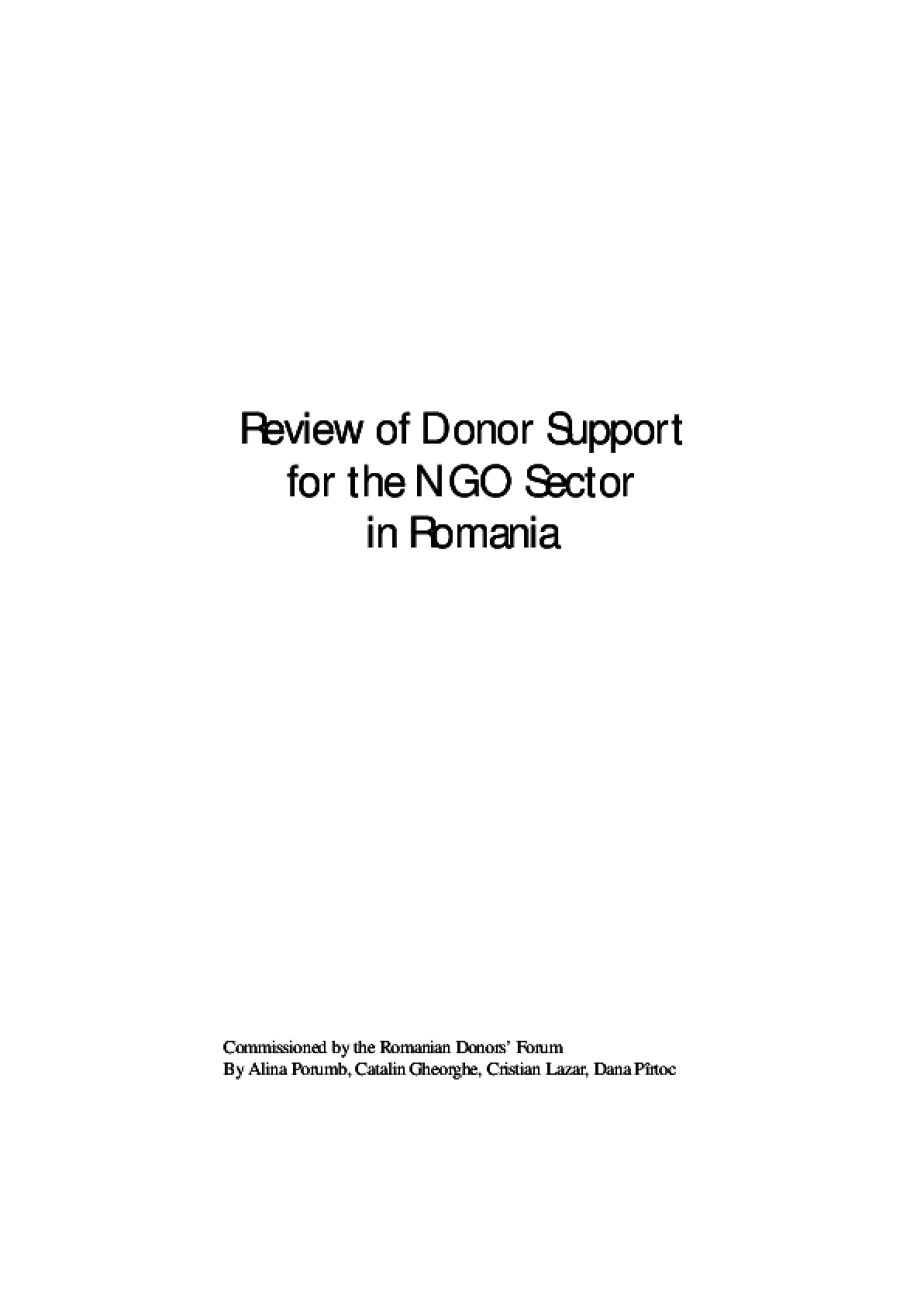 Review of Donor Support for the NGO Sector in Romania