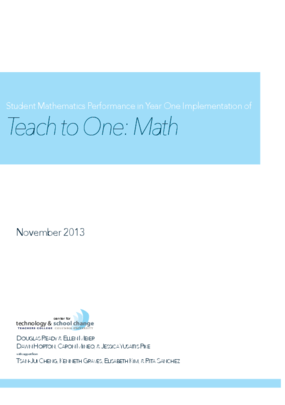 Student Mathematics Performance in Year One Implementation of Teach to One: Math