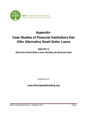 Appendix: Case Studies of Financial Institutions that Offer Alternative Small Dollar Loans