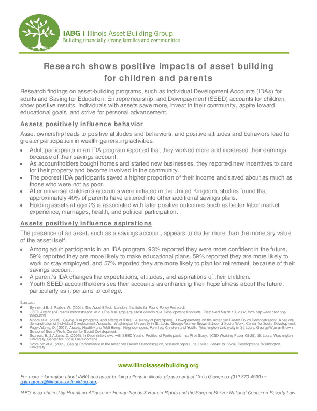 Research Shows Positive Impacts of Asset Building for Children and Parents