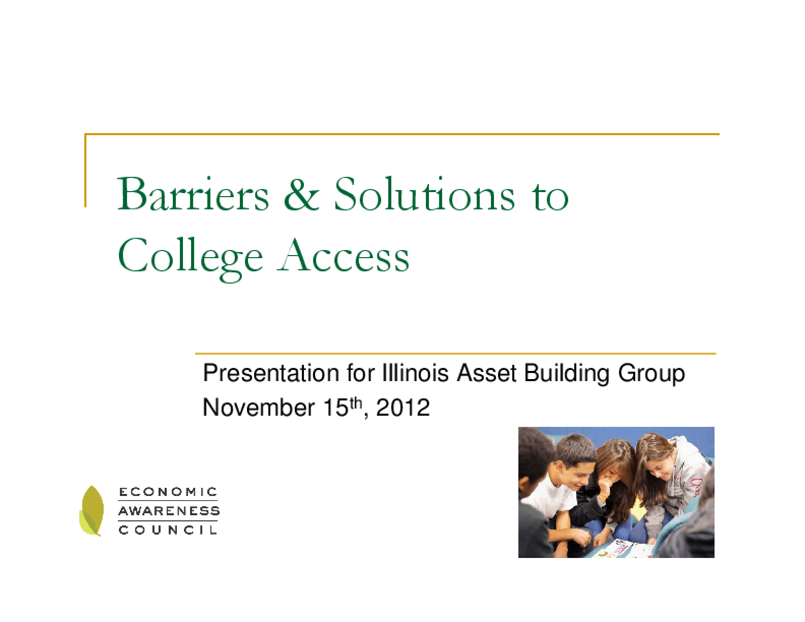 Barriers & Solutions to College Access