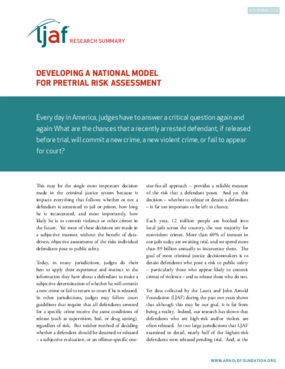 Developing a National Model for Pre-Trial Risk Assessment