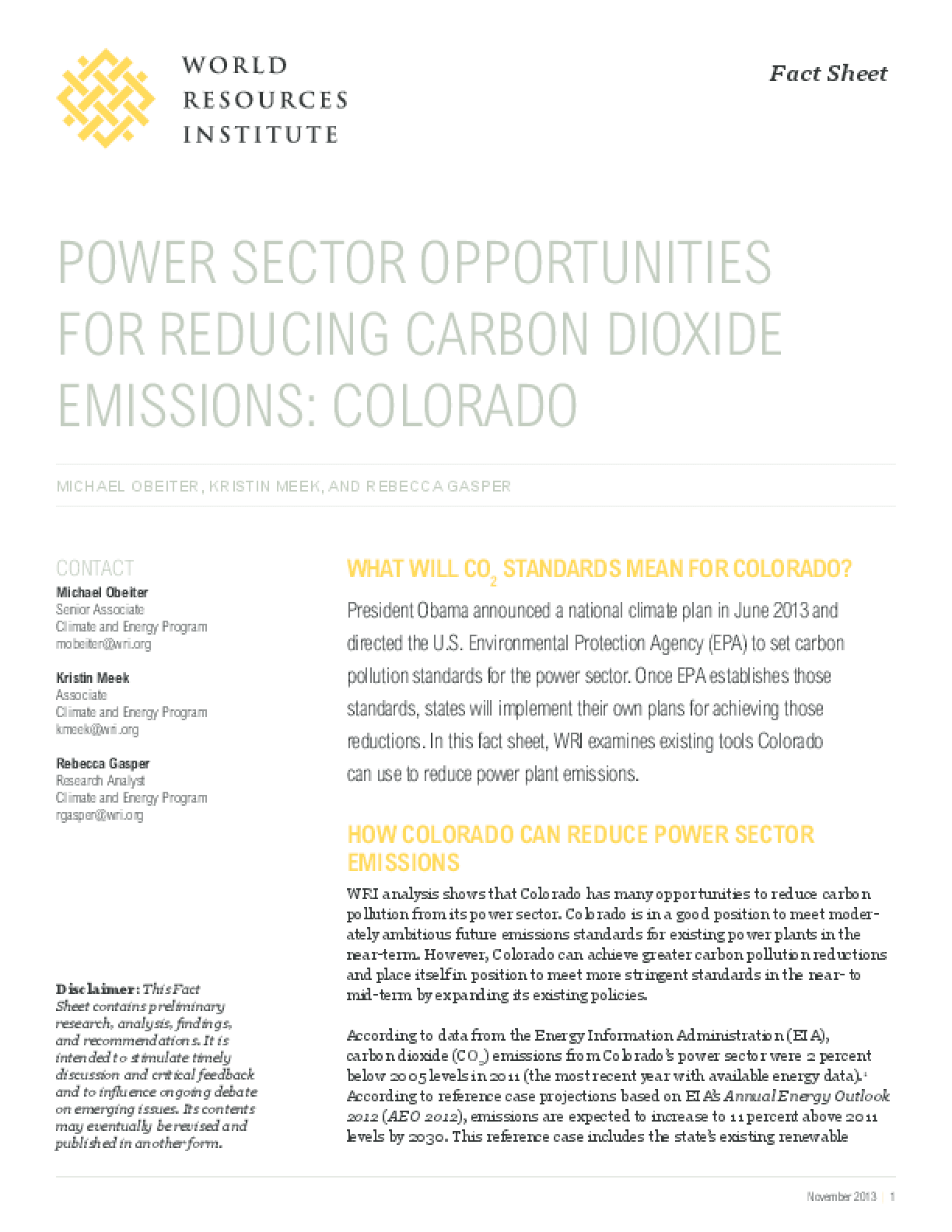 Power Sector Opportunities for Reducing Carbon Dioxide Emissions: Colorado