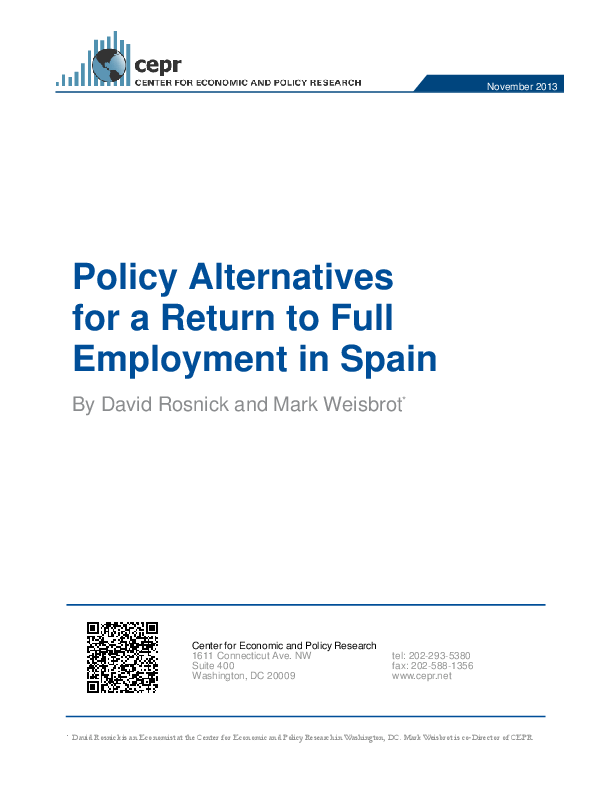 Policy Alternatives for a Return to Full Employment in Spain