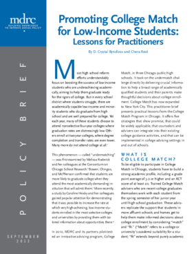 Promoting College Match for Low-Income Students: Lessons for Practitioners