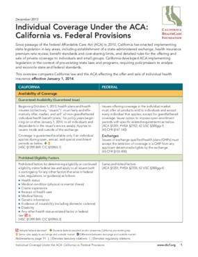 Individual Coverage Under the ACA: California vs. Federal Provisions