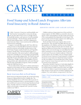 Food Stamp and School Lunch Programs Alleviate Food Insecurity in Rural America