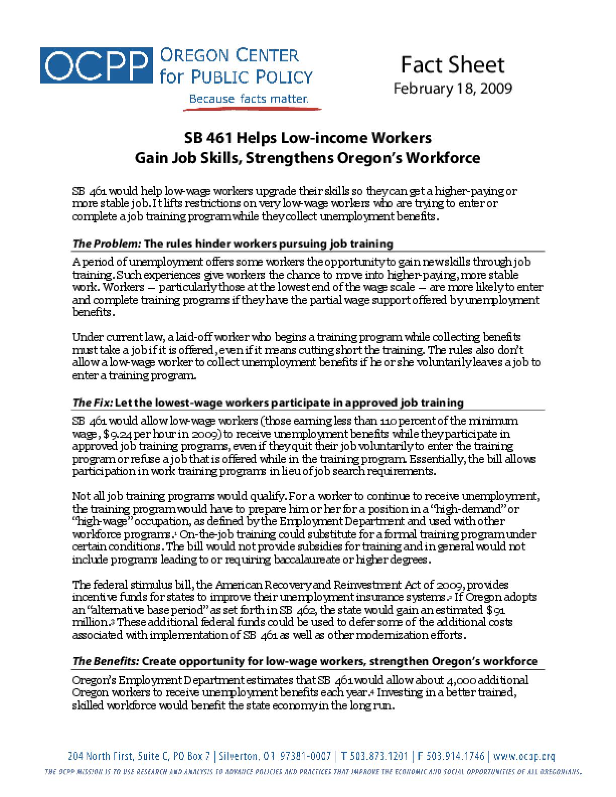 SB 461 Helps Low-income Workers Gain Job Skills, Strengthens Oregon's Workforce
